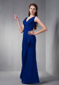 Blue V-neck Floor-length Chiffon Ruch Prom Dress