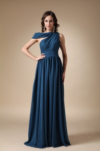 Blue Empire Evening Dress Floor-length Ruch Chiffon