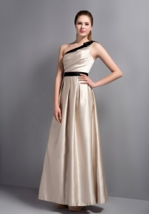 Champagne One Shoulder Ankle-length Ruch Prom Dress