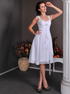 A-line Wedding Dress Straps Knee-length Chiffon Beading