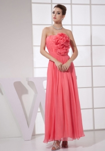 Hand Made Flower Watermelon Chiffon Ankle-length Prom Dress