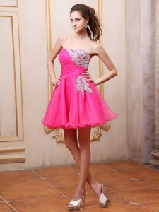 Cocktail Dress with Appliques Mini-length Hot Pink