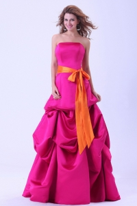 Hot Pink Prom Dress With Orange Sash A-line Floor-length