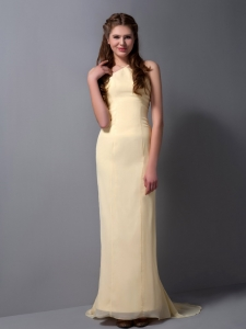 Halter Brush Train Chiffon Prom Dress Light Yellow