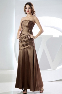 Mermaid Strapless Prom Dress Brown Ruched Ankle-length