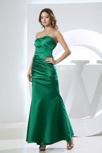 Mermaid Strapless Taffeta Green Prom Dress Ankle-length