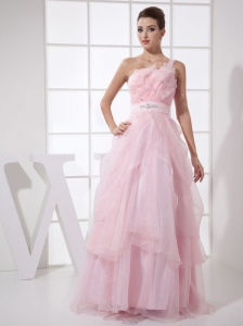One Shoulder Beaded Floor-length Baby Pink Prom Dress
