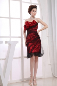 One Shoulder Prom Dress Hand Made Flowers Knee-length Red