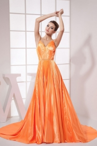 Orange Beading Pleat Prom Dress Brush Train 2013