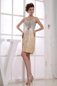 Sweetheart Knee-length Taffeta Prom Dress Gold 2013