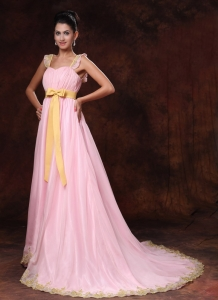 Pink Court Train Bowknot A-line Celebrity Gowns Custom Made