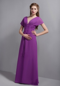 Purple V-neck Floor-length Chiffon Ruch Prom Dress
