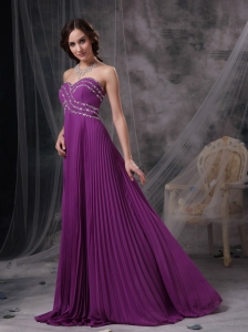 Purple Sweetheart Brush Train Chiffon Beading Prom Dress