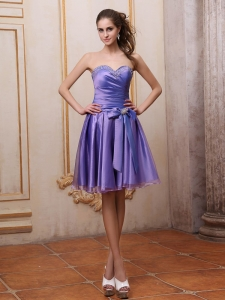 Purple Sweetheart Beaded Knee-length Homecoming Dress