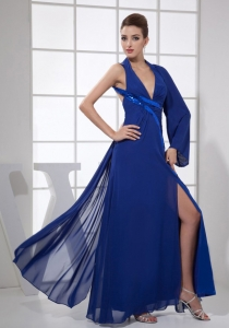 V-neck Ankle-length Prom Dress Royal Blue High Slit