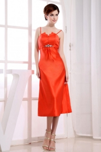 Spaghetti Straps Red Prom Dress Tea-length Column Orange