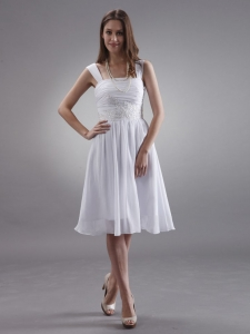Straps Prom Dress White Appliques Knee-length Custom Made