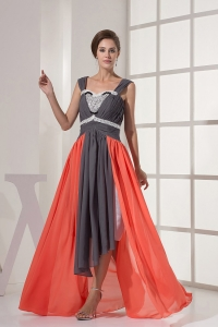 Straps and Ruched Beading Prom Dress Grey and Orange