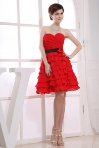 Sweetheart Prom Dress Red Ruffles Chiffon Knee-length