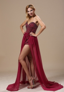 Sweetheart Beaded Chiffon Red Prom Dress with a Train