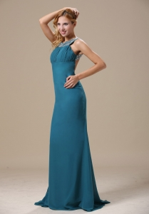 Teal Scoop Prom Dress with Beaded Shoulder Chiffon