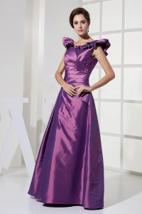 V-neck Purple Taffeta 2013 Prom Dress Floor-length