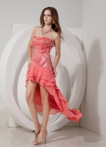 Watermelon Red Prom Dress Strapless High-low Sequin