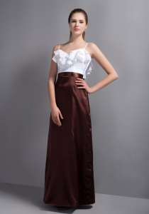White and Brown Straps Prom Dress Ruffled Layers