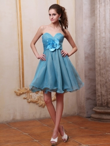 Baby Blue Knee-length Prom Dress Sweetheart Beading Hand Made Flower
