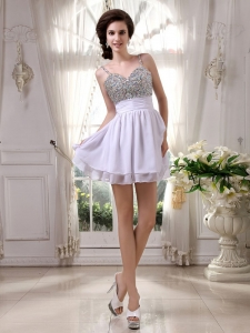 Mini-length Beaded Prom/Cocktail Dress Spaghetti Straps For Nightclub