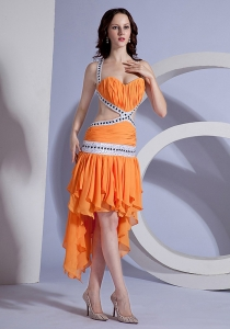 Asymmetrical Ruffled Orange High-low Beaded Ruching Prom Dress Straps