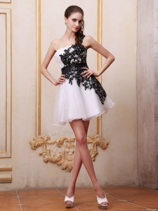 White Mini-length Short Prom/Cocktail Dress One Shoulder Appliques