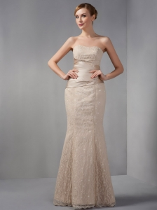 Champagne Mermaid Off The Shoulder Lace Prom Dress Beading