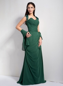 Dark Green Column Sweetheart Brush Train Chiffon Ruch Evening Dress