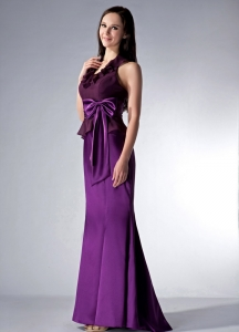 Eggplant Purple Cloumn Halter Brush Train Bridesmaid Dress Bowknot