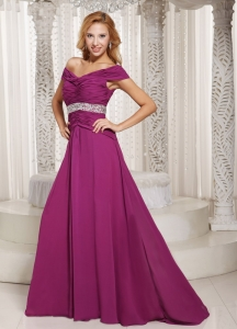 Fuchsia Off The Shoulder Ruched Prom Graduation Dress For Spring