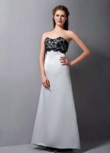 Long Grey A-line Strapless Floor-length Satin Prom Dress Black Lace