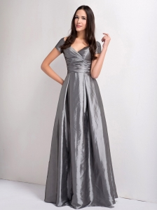 A-line Grey V-neck Short Sleeves Taffeta Bridesmaid Dress Ruching