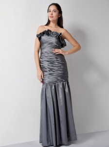 Sheath Grey Ruched Prom Dress Taffeta Hand Made Flower Strapless