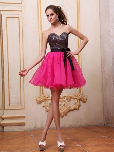Hot Pink Mini-length Short Prom/Cocktail Dress With Sequin Bowknot