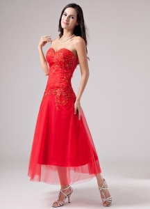 Luxurious Red Sweetheart Tea-length Tulle Prom Dress Beading Appliques