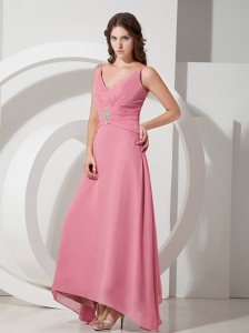 Light Pink Empire V-neck Ankle-length Chiffon Beading Prom Dress