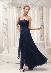 Ruched Long Navy Blue Chiffon Prom/Evening Dress Beaded Waist