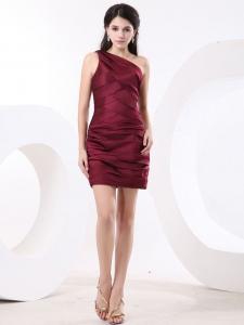 One Shoulder Sheath Wine Red Ruch Mini-length Short Prom Dress