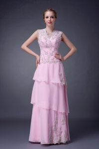Sheath Baby Pink V-neck Chiffon Ruffled Layers Prom Dress Appliques