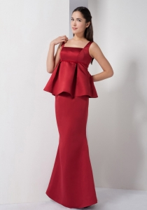 Red Mermaid Straps Floor-length Satin Prom Dress for 2013 Spring