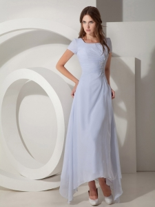 White Empire Scoop Neck Ankle-length Chiffon Beading Prom Dress