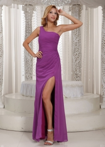 Lavender Sexxy High Slit One Shoulder Long Prom Dress Chiffon Ruch