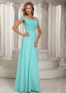 Aque Blue Off The Shoulder Beaded Prom Dress Chiffon Ruching
