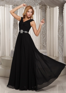 V-neck Black Beaded Bridesmaid Dress Belt For 2013 Wedding Party
